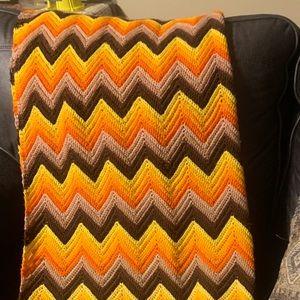 Handmade knitted throw blanket.